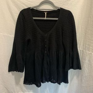Free people bell sleeve knit cardigan